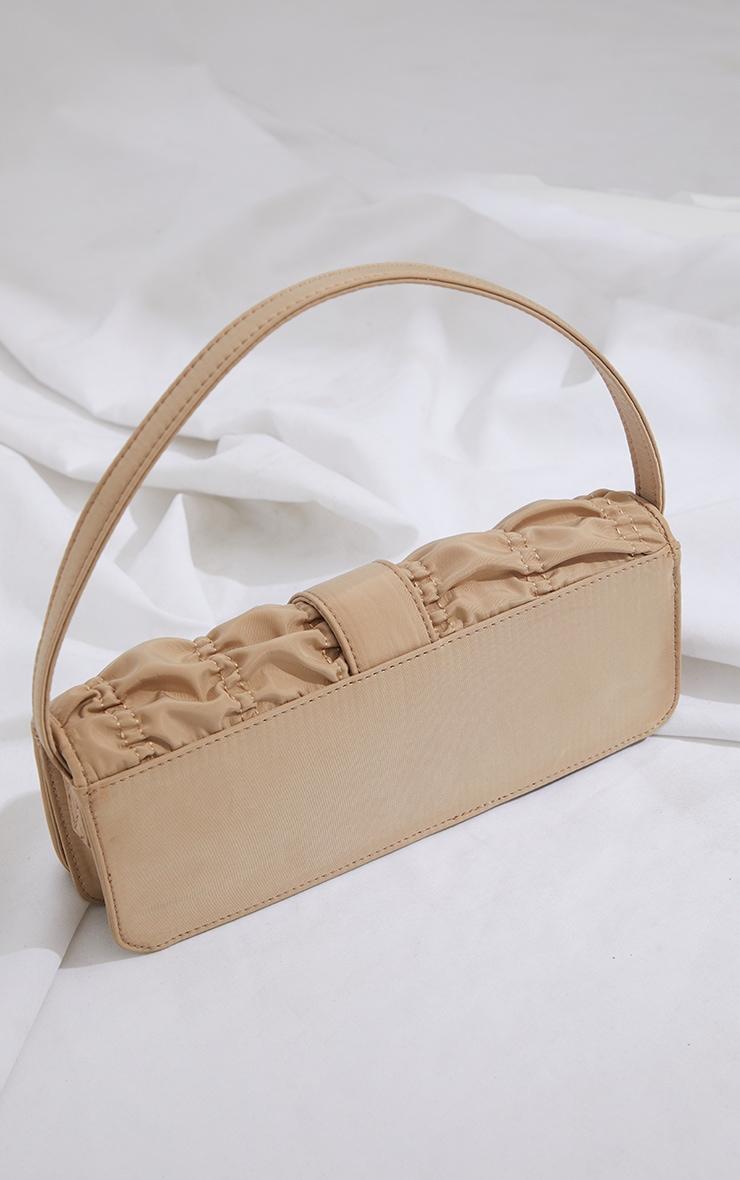 Beige Ruched Silver Buckle Shoulder Bag 3