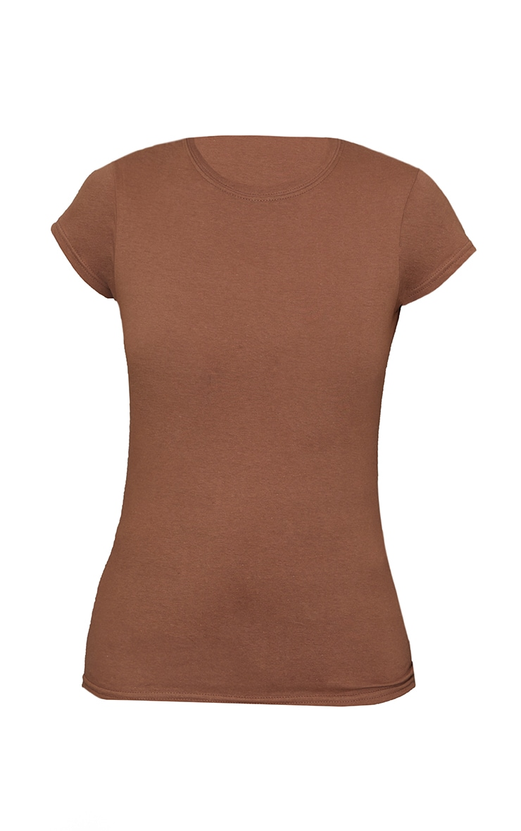 Tee-shirt simple cintré marron clair 5