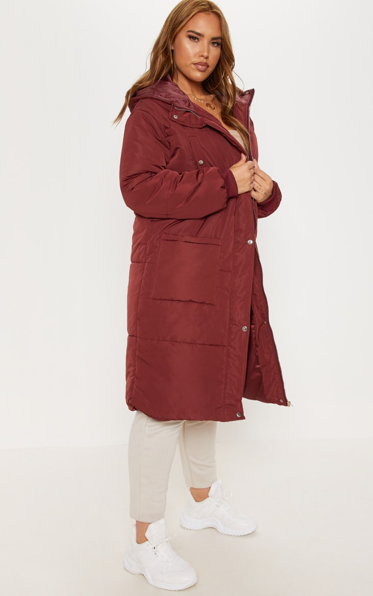Plus Burgundy Longline Puffer Coat 4