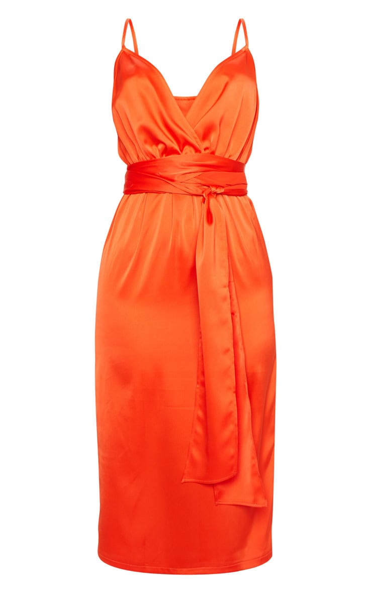 Bright Orange Tie Waist Midi Slip Dress 5