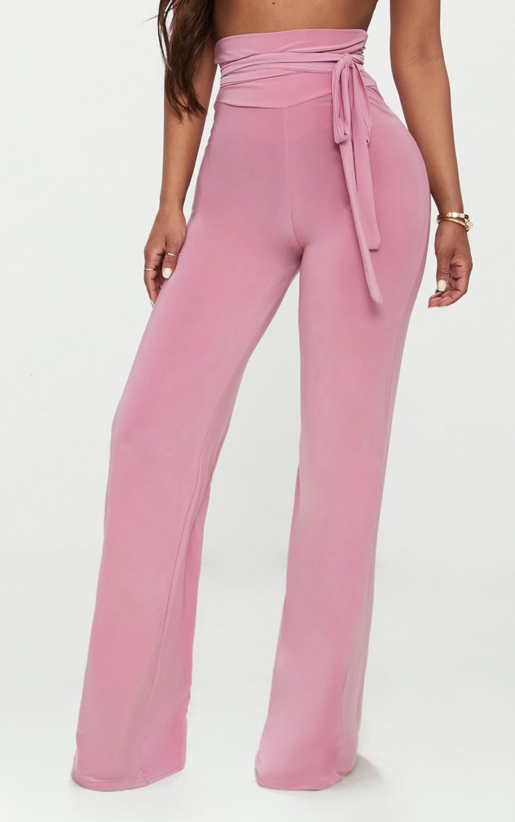 Shape Rose Slinky Extreme High Waist Detail Wide Leg Trousers 2
