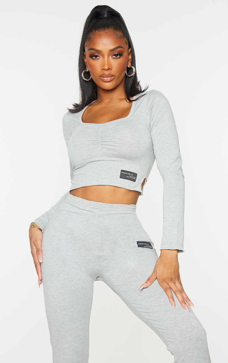 PRETTYLITTLETHING Shape Grey Ruched Front Top 1
