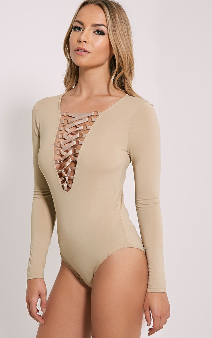 Enya Mocha Lace Up Front Bodysuit 7