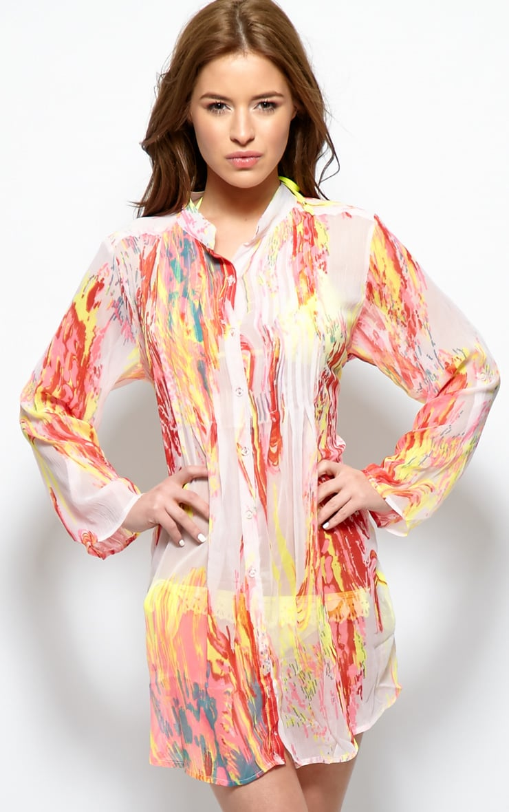 Riya Yellow Fluro Splash Chiffon Shirt 7