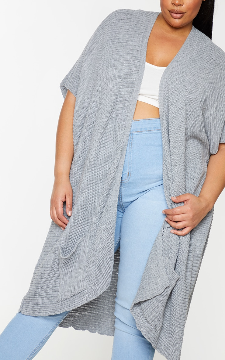 Plus Grey Chunky Knit 3/4 sleeve Wrap Cardigan 4