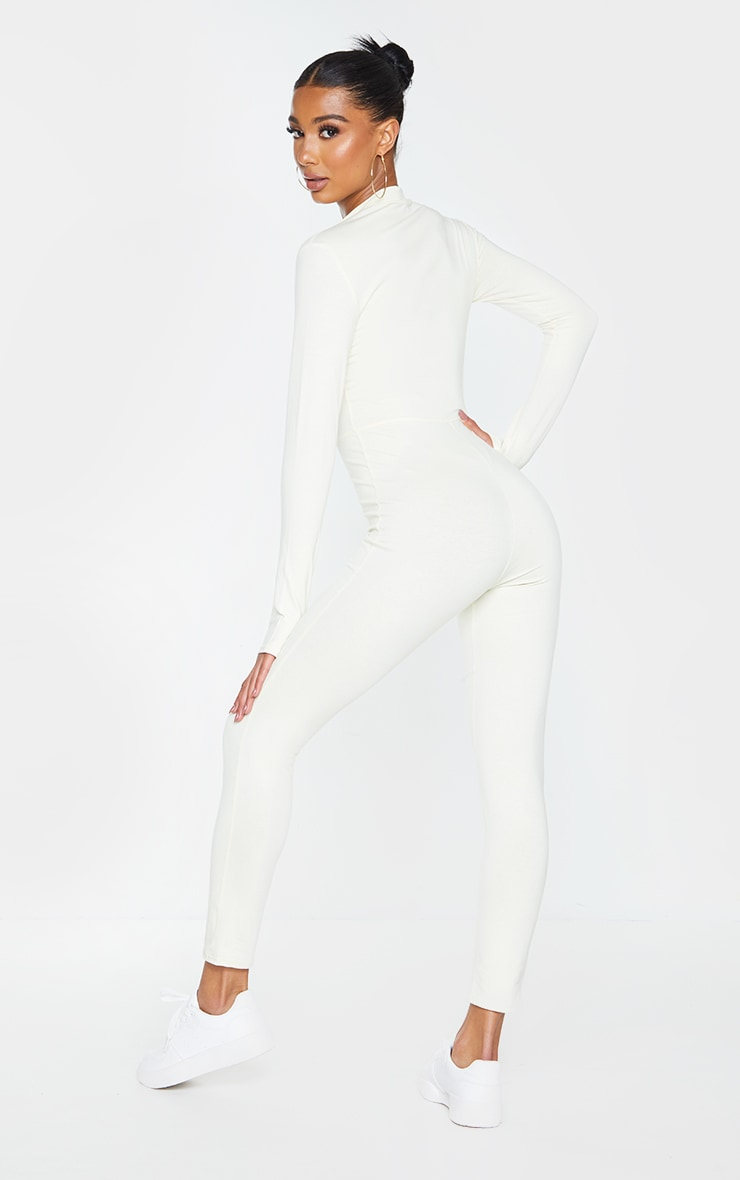 PRETTYLITTLETHING Cream Embroidered Zip Front Catsuit 2