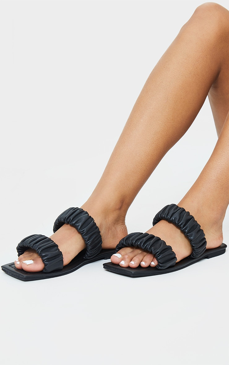 Black Square Toe Twin Ruched Strap Real Leather Mule Sandal 1