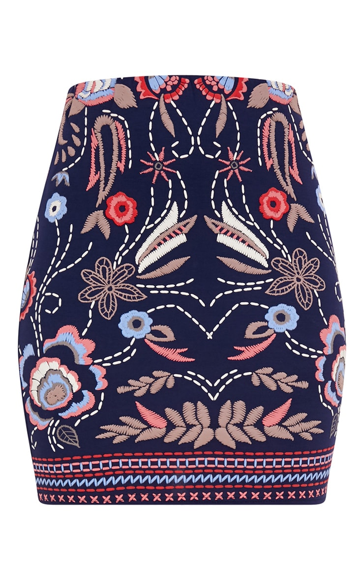 Navy Floral Embroidery Print Mini Skirt 3