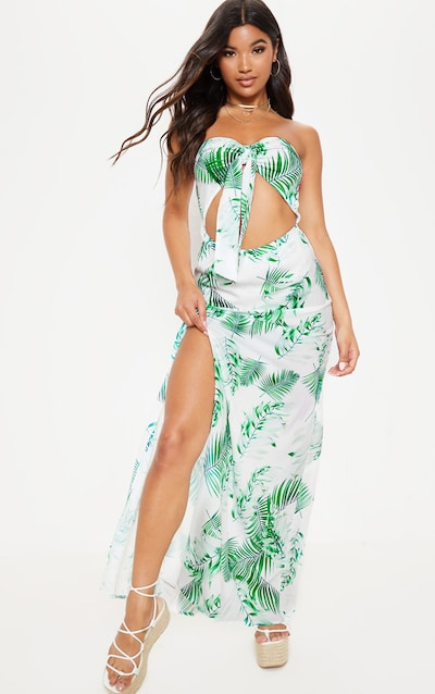 fd506afde8f7 White Tropical Print Tie Bandeau Split Maxi Dress