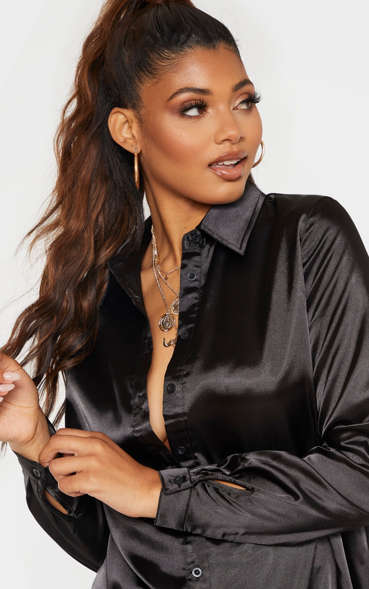 Tall Black Satin Oversized Shirt 5