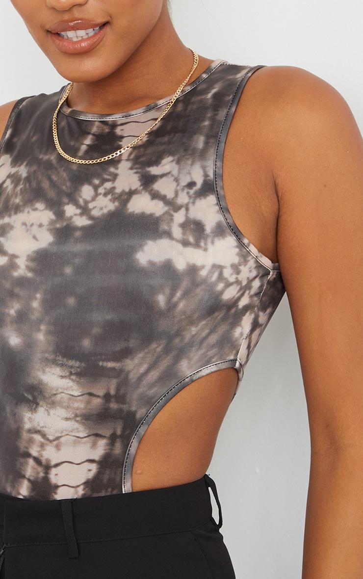 Black Tie Dye Slinky Printed Side Cut Out Sleeveless Bodysuit 4