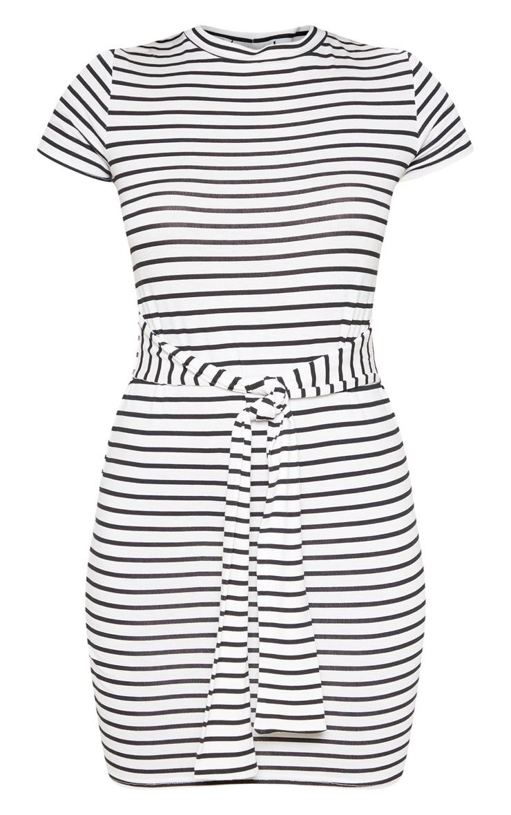 White Stripe Print Waist Tie T Shirt Dress 3