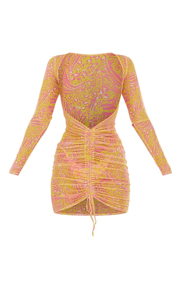 Yellow Animal Mesh Ruched Dress 5
