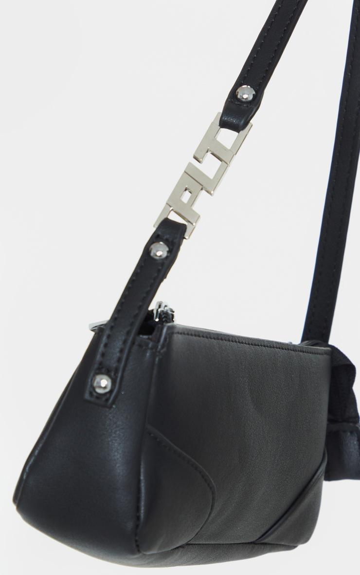 Black PLT Handle PU Baguette Shoulder Bag   4