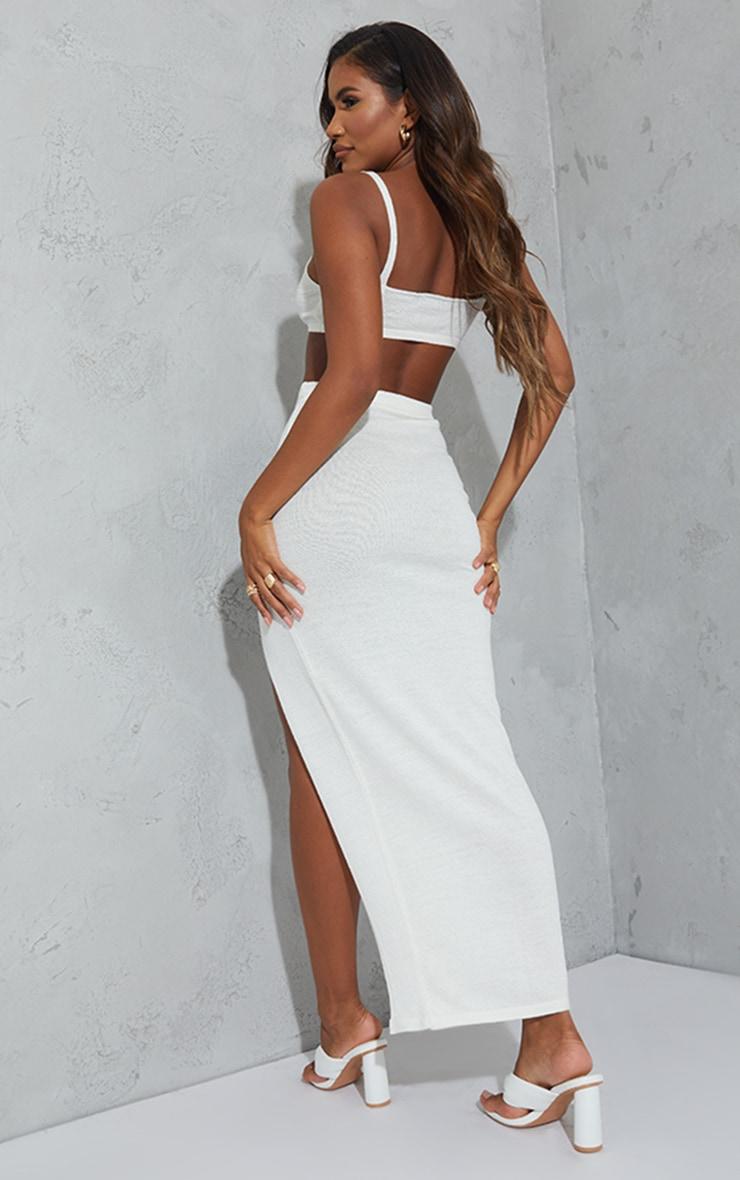 White Sheer Knit Twist Front Maxi Skirt Set 2