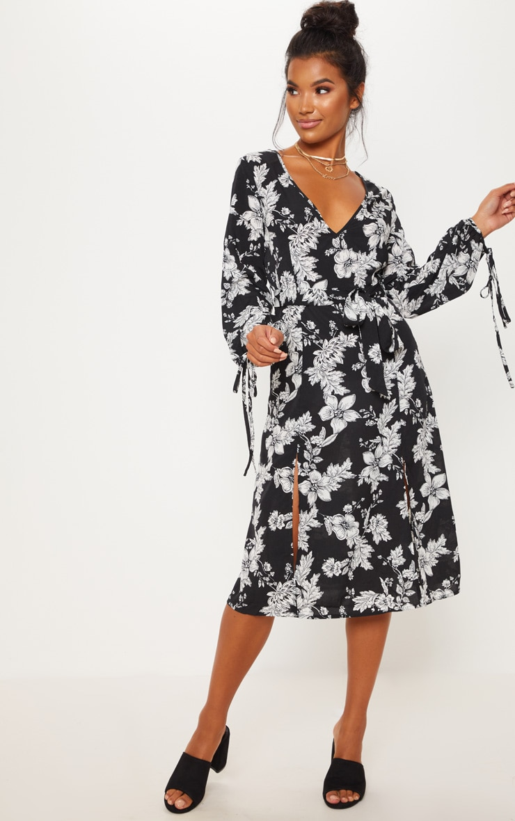 Black Tie Waist Floral Print Split Midi Dress 4