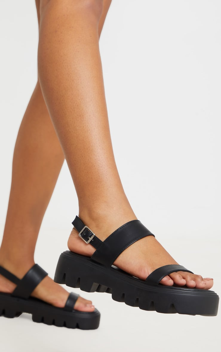 Black Chunky Sole Sandals 2