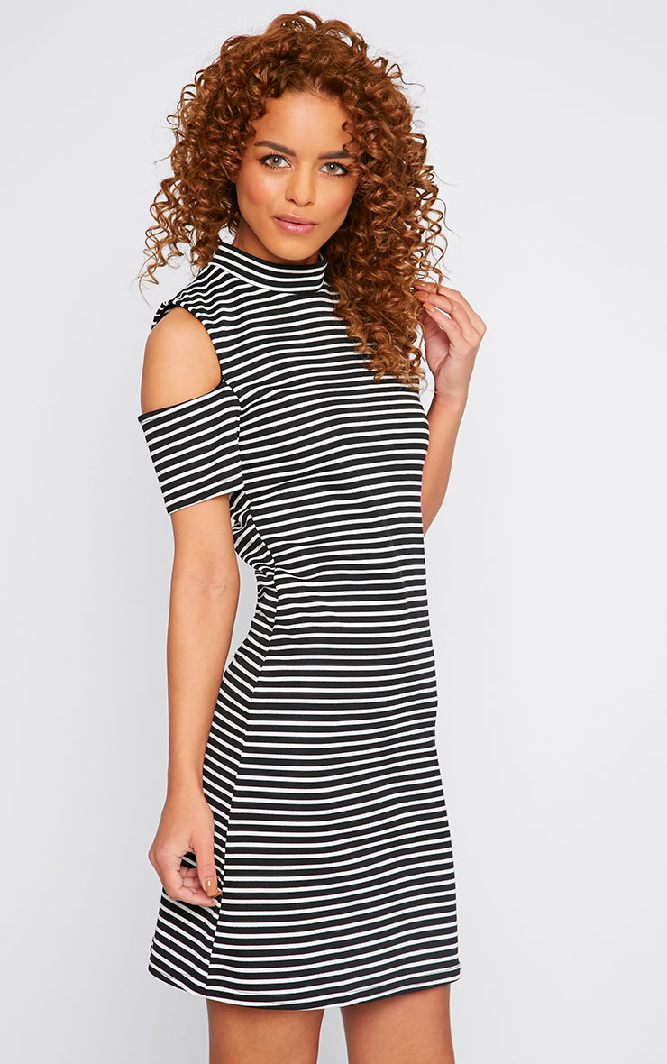 Rosa Monochrome Stripe High Neck Cut Out Mini Dress 1