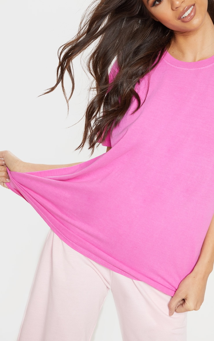 Neon Pink Washed Oversized T Shirt 5