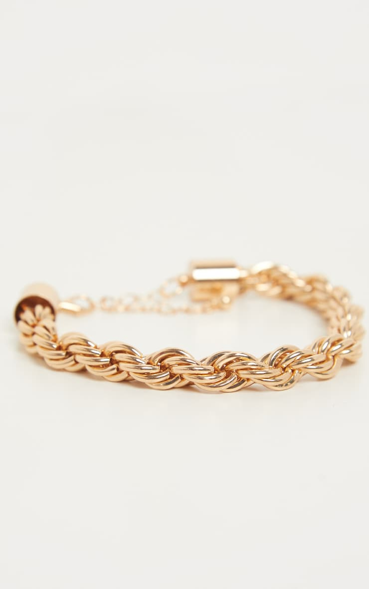 Gold Chunky Twist Chain Bracelet 1
