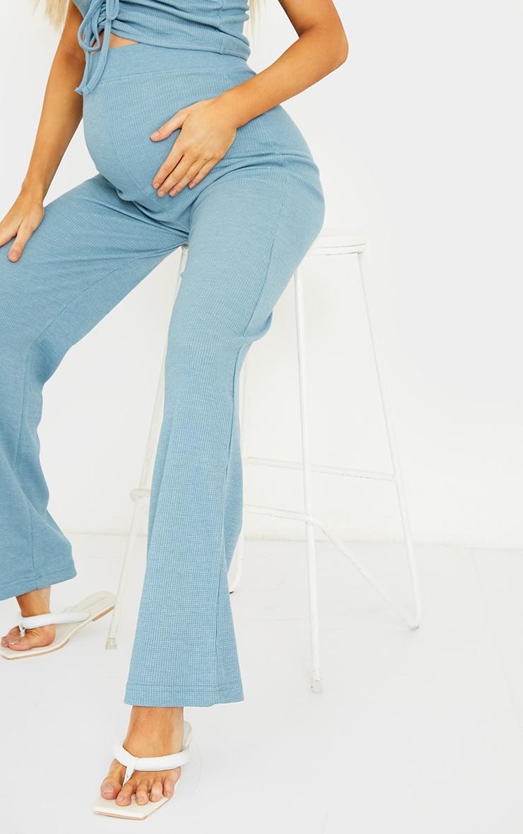 Maternity Blue Waffle Wide Leg Pants 4