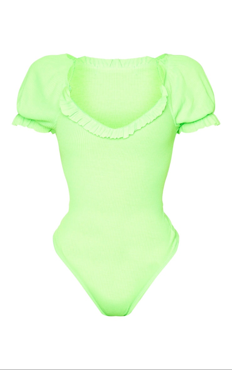 Shape Neon Lime Ribbed Puff Sleeve Bodysuit 5