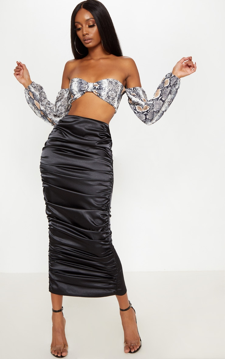 Black Satin Ruched Side Midaxi Skirt