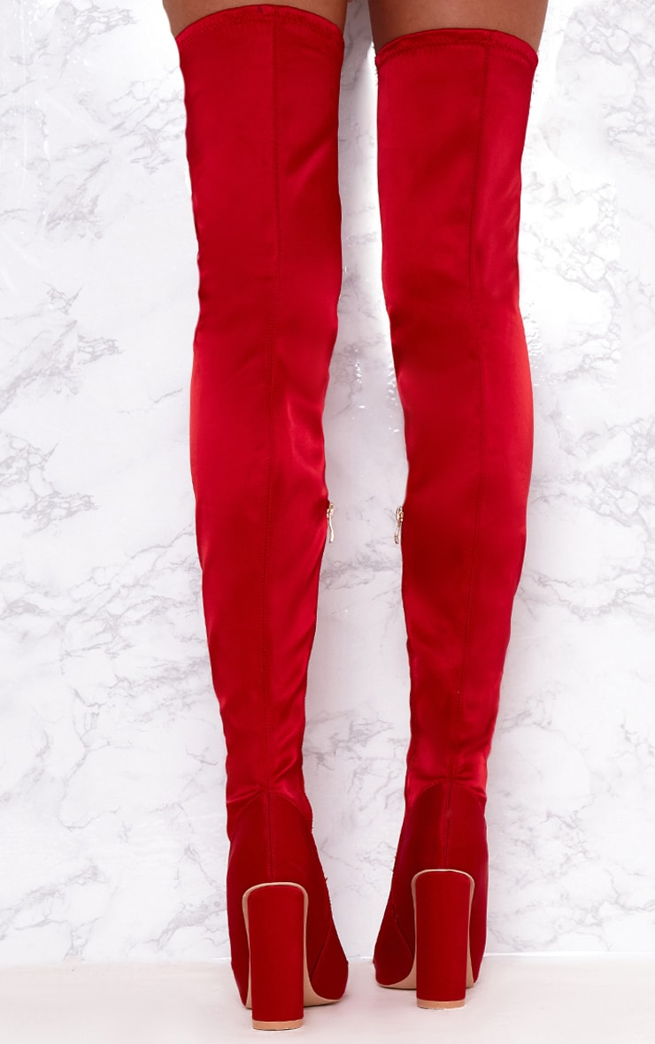 Red Stretch Satin Sock Thigh High Boots 4
