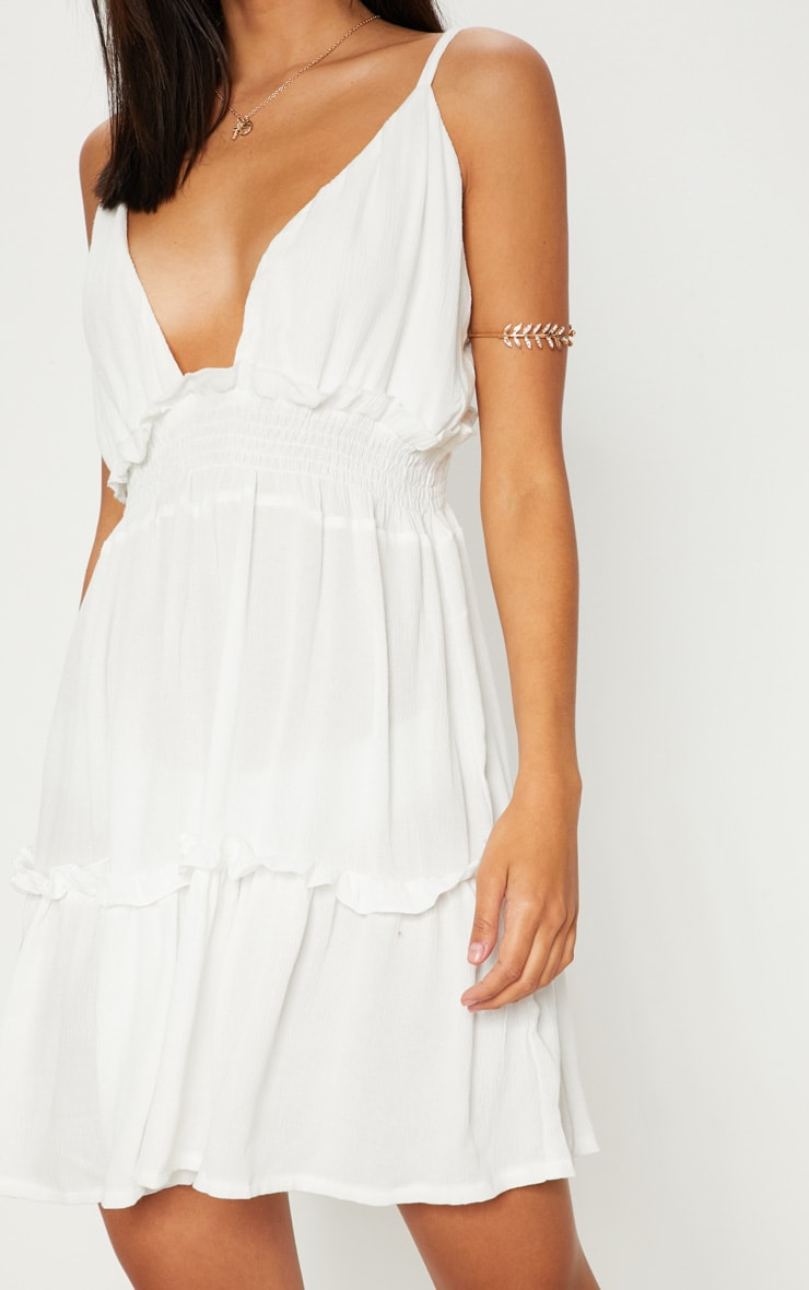 White Cheesecloth Ruched Detail Plunge Strappy Swing Dress 5
