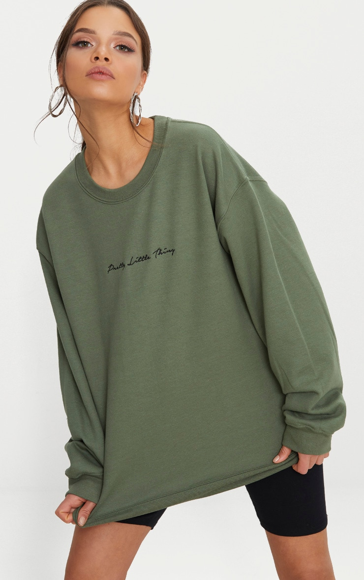 PRETTYLITTLETHING Khaki Embroidered Oversized Sweater 1