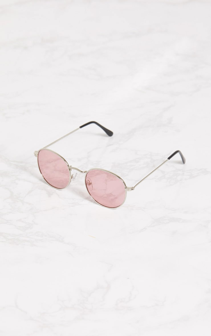 Pink Rounded Lens Retro Sunglasses 2