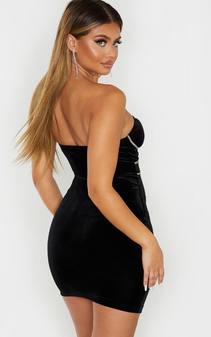Black Velvet Glitter Binding Detail Bandeau Bodycon Dress 2