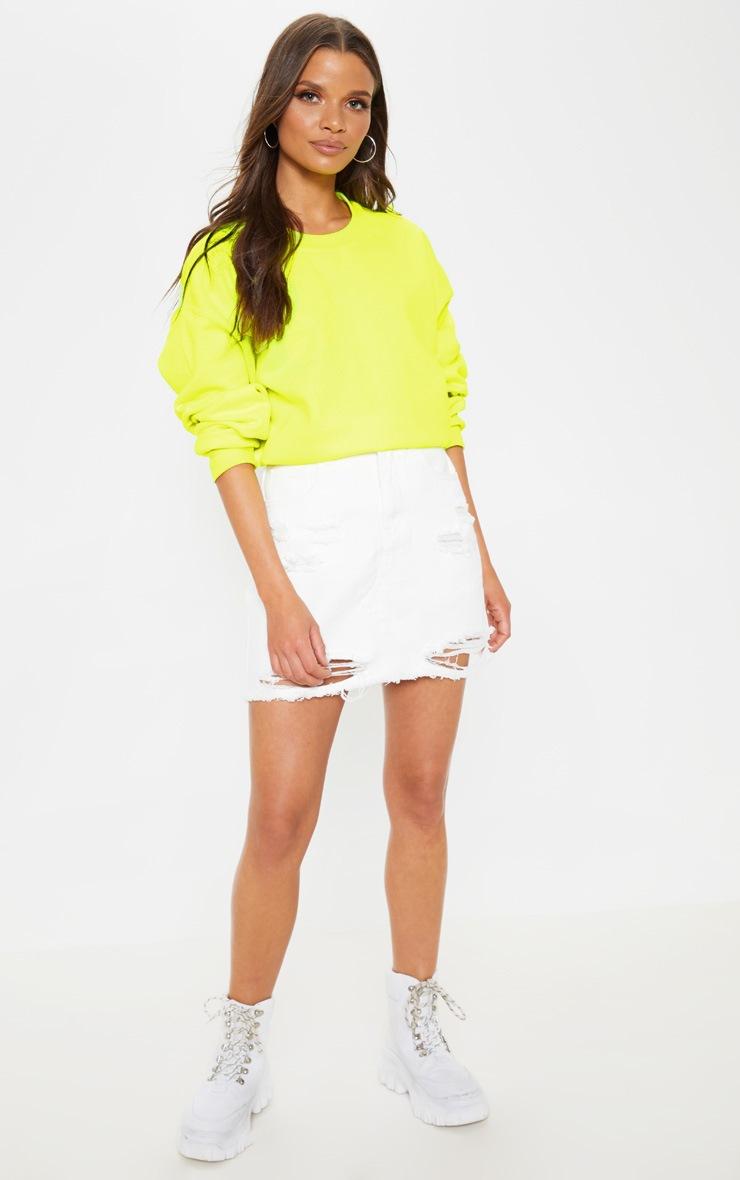 White Distressed Midi Skirt  5