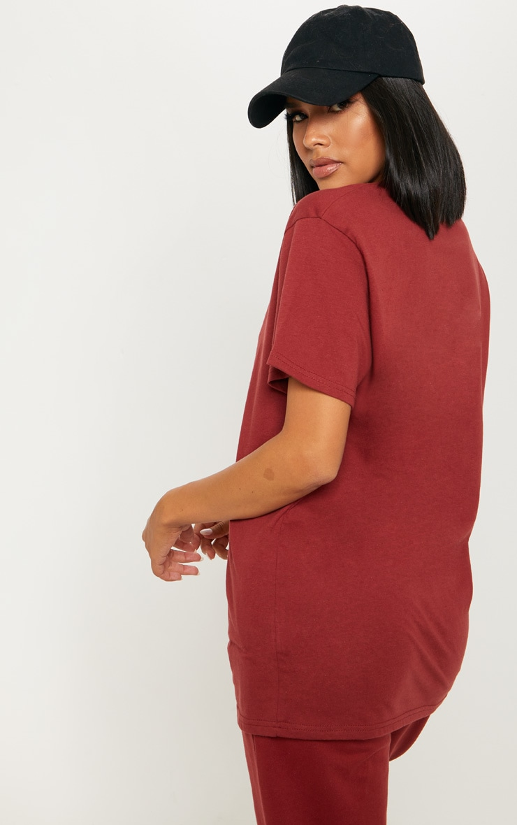 PRETTYLITTLETHING Burgundy Oversized T Shirt 2