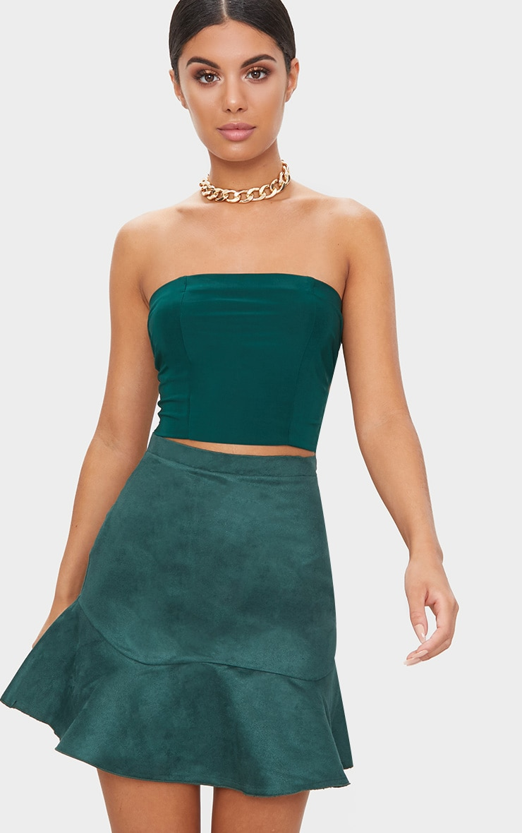Emerald Green Faux Suede Flippy Hem Mini Skirt  1