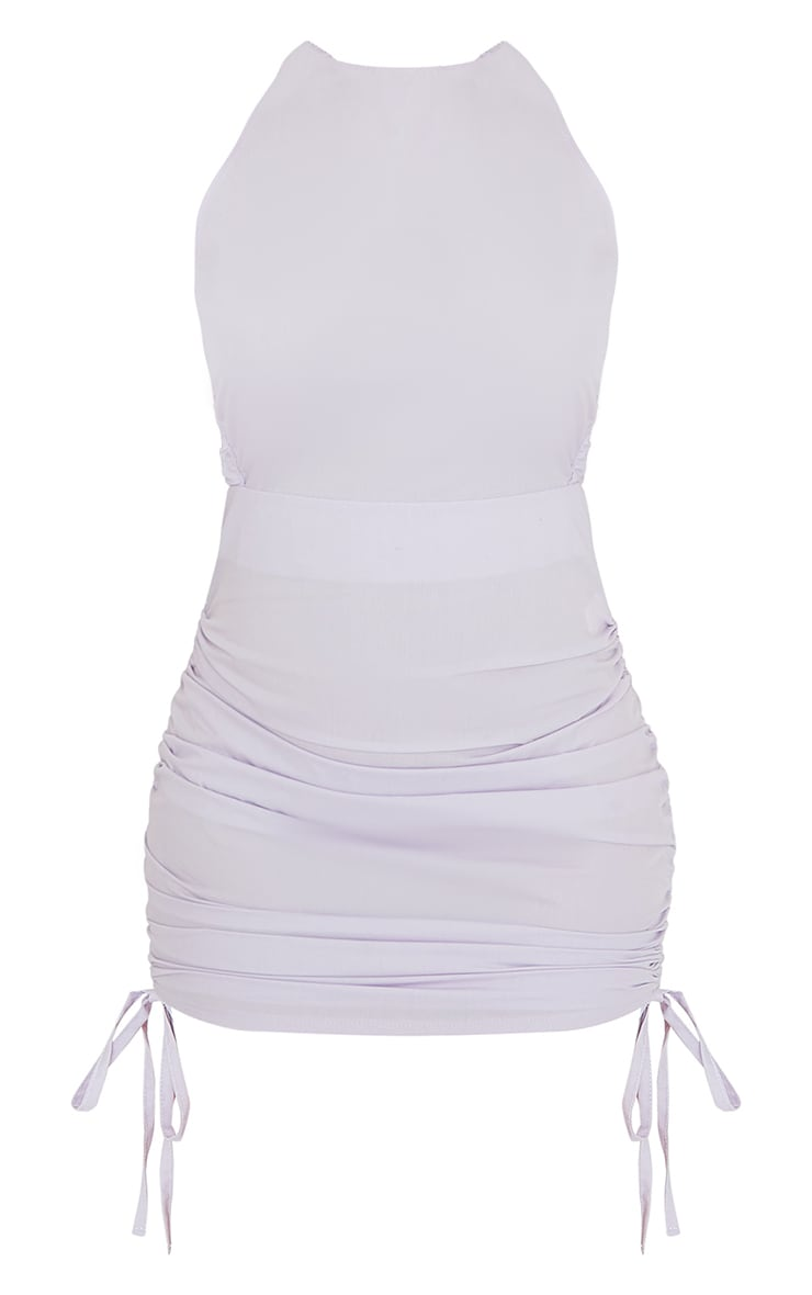 Lilac Woven Elasticated Open Back Ruched Bodycon Dress 5