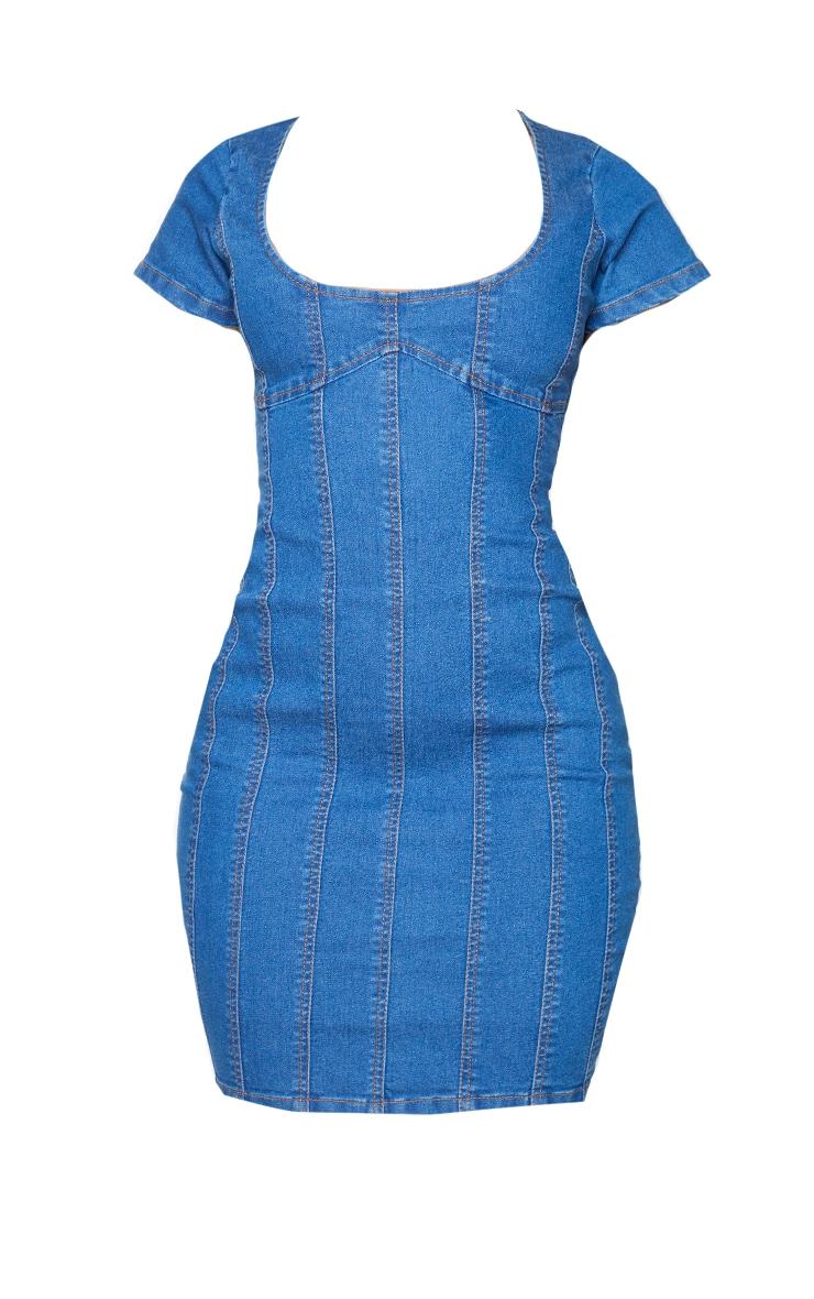 Shape Mid Blue Wash Seam Detail Short Sleeve Denim Dress 5