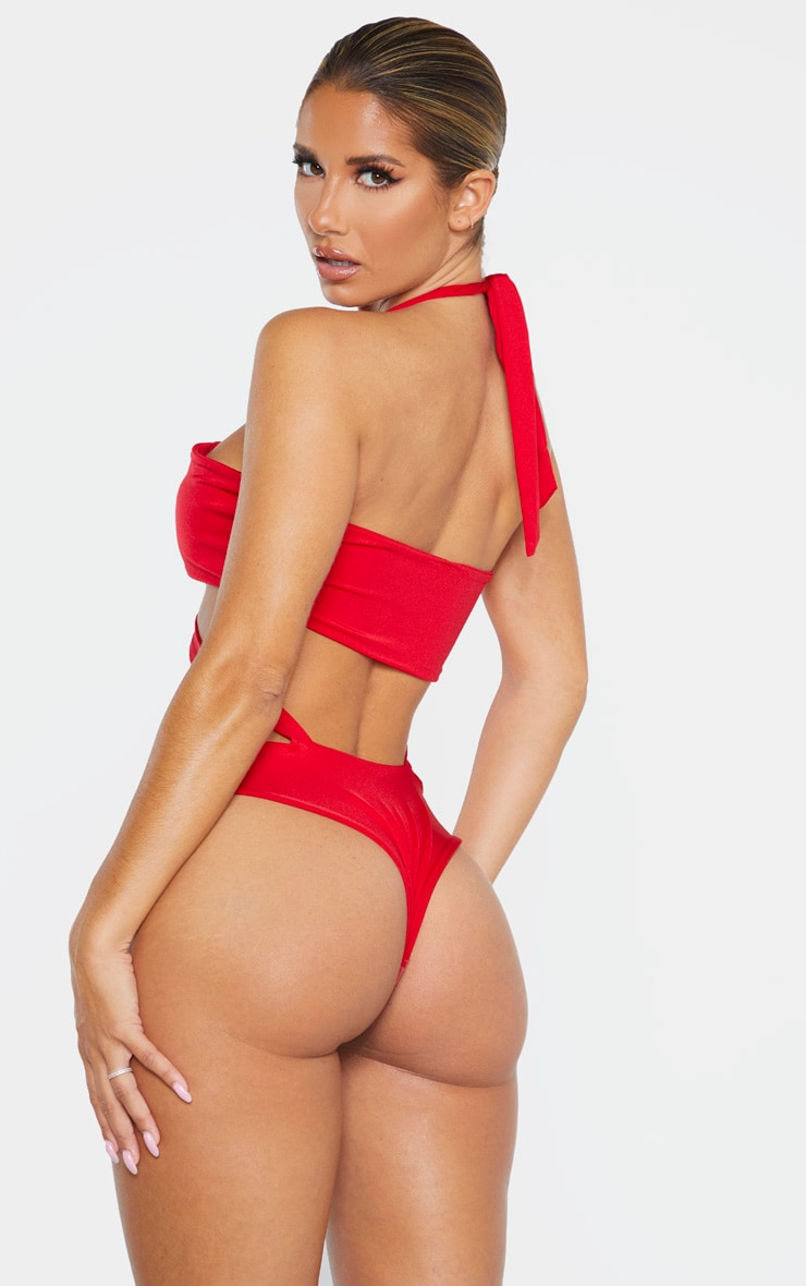 Red Cross Strap Ruched Mini Swimsuit 2