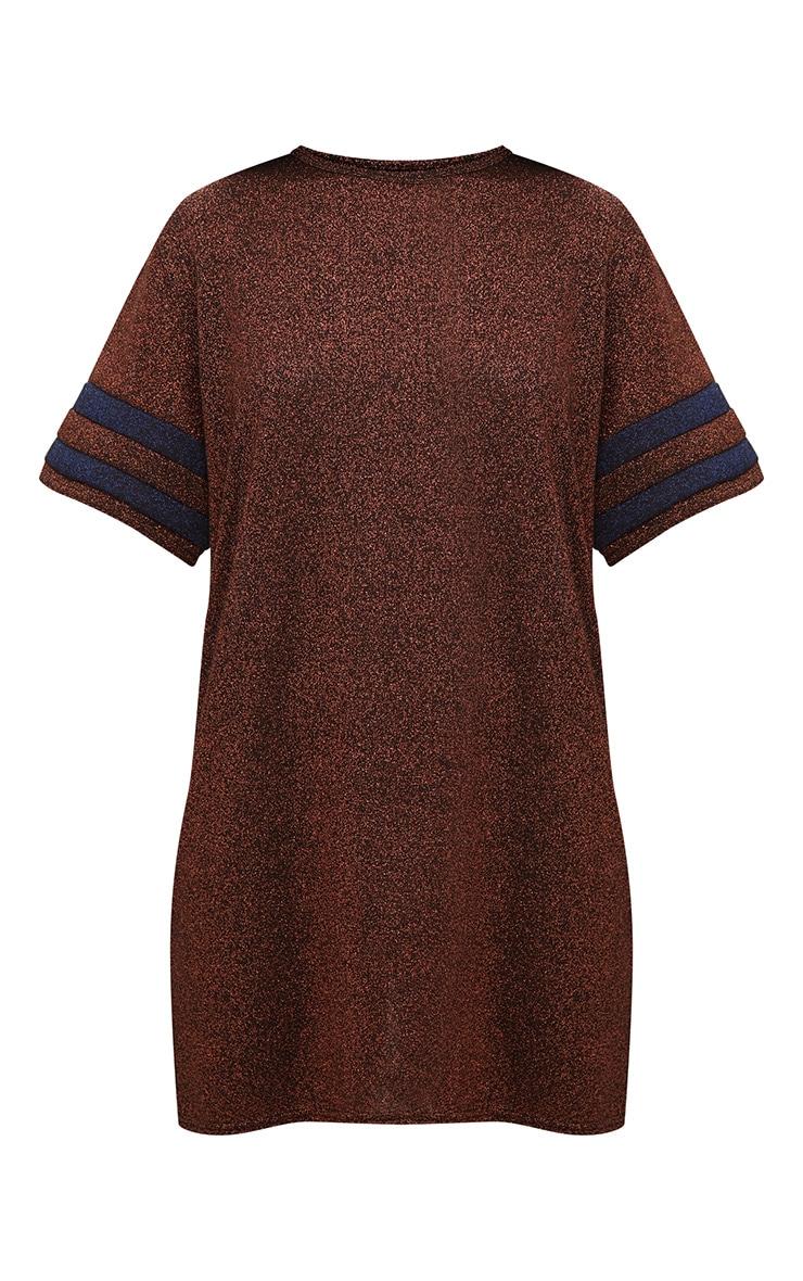 Bronze Lurex Sports Stripe T Shirt Dress 3