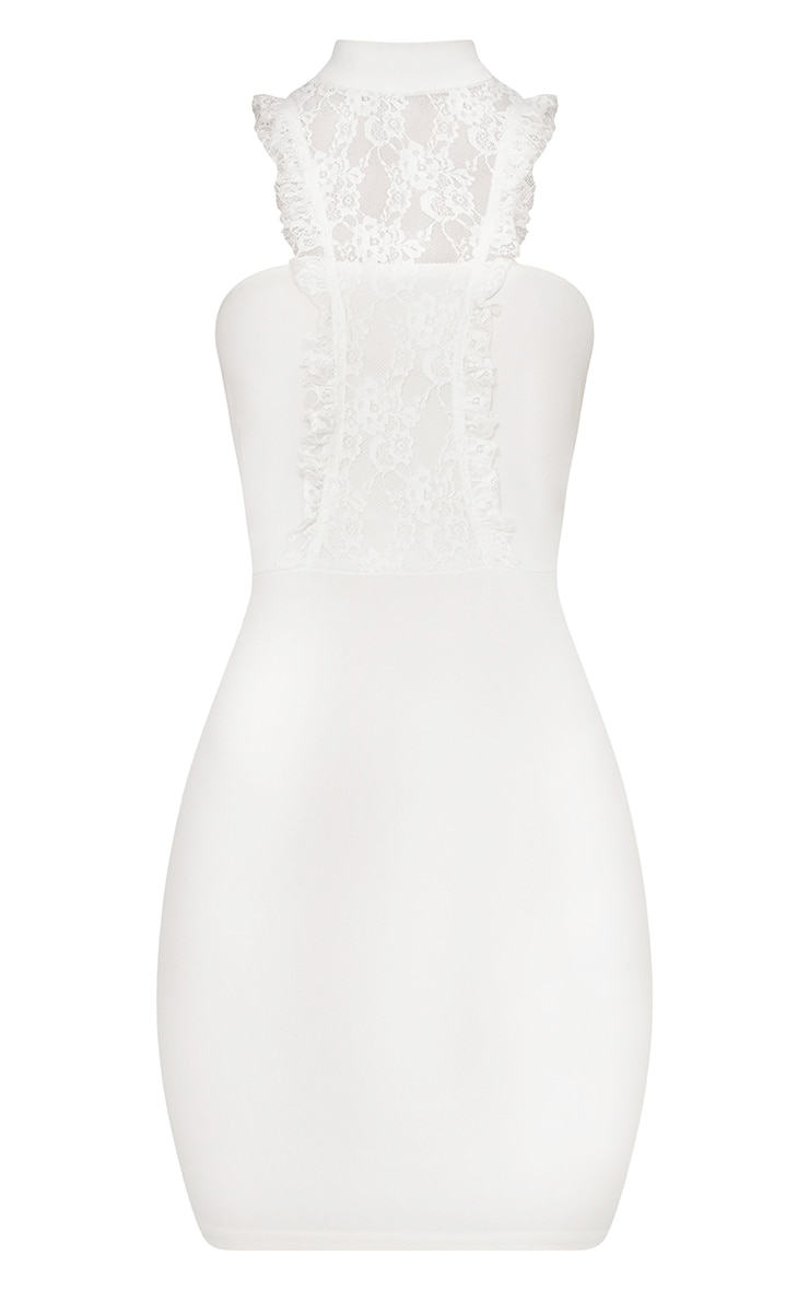 Jessalyn White Lace Overlay High Neck Bodycon Dress 3