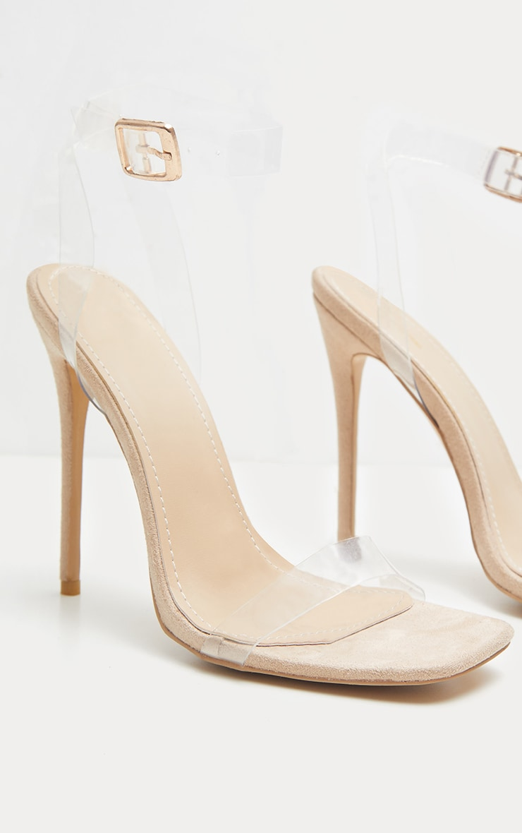 Nude Square Toe Clear Strappy Sandal 4