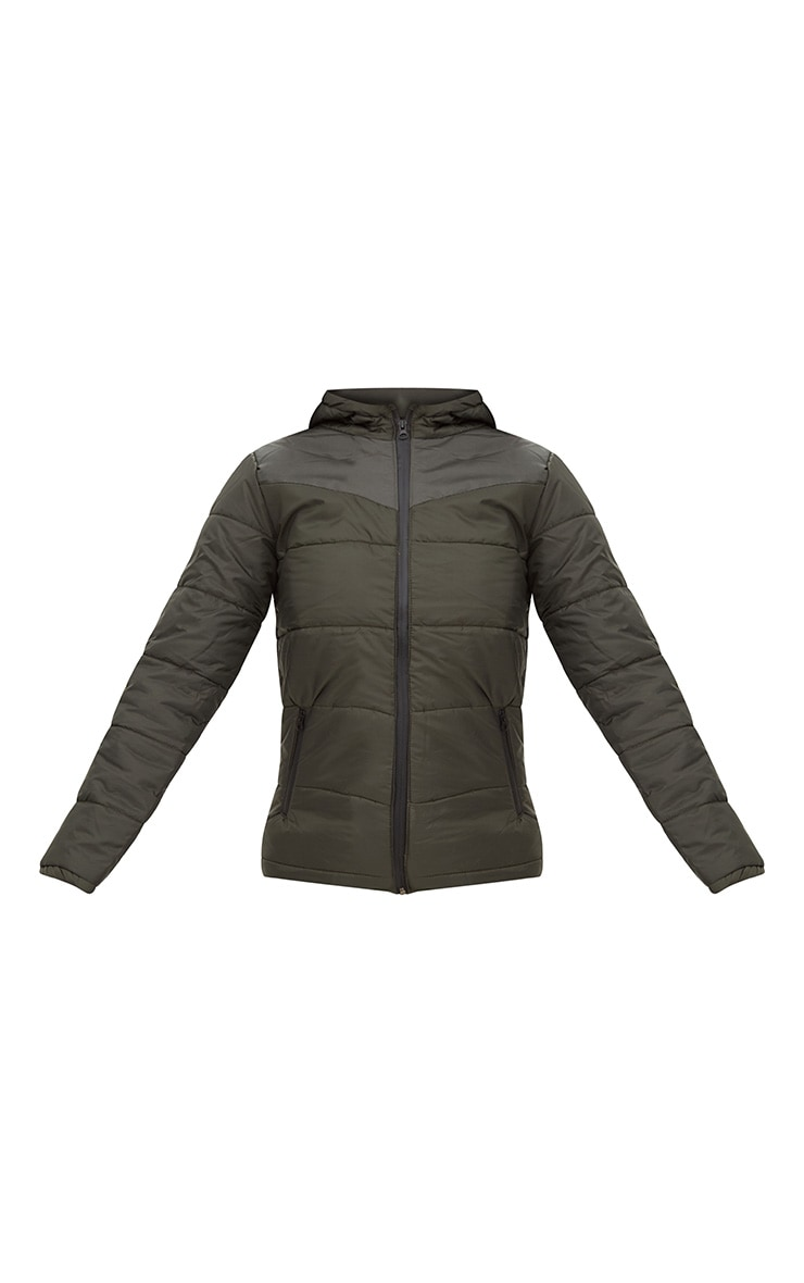 Khaki Hooded Puffer Jacket 3