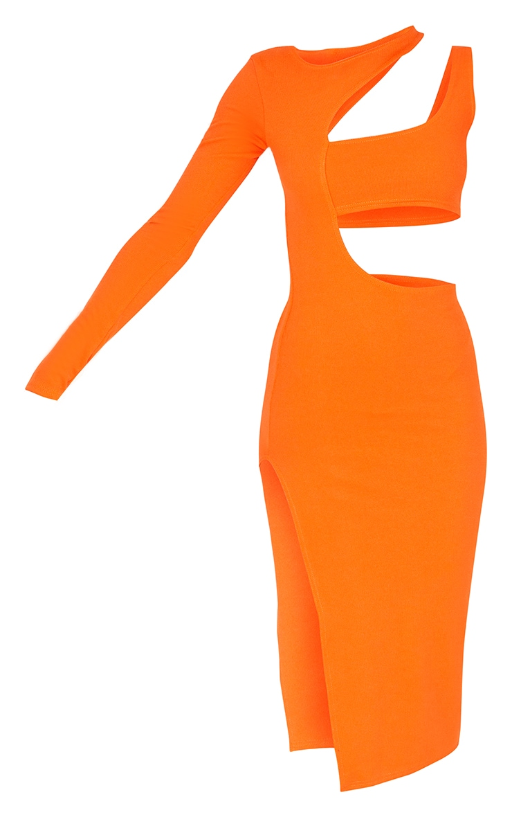 Orange Ribbed One Shoulder Cut Out Detail Midi Dress 5