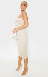 Nude Strappy Mesh Ruched Midaxi Dress 4