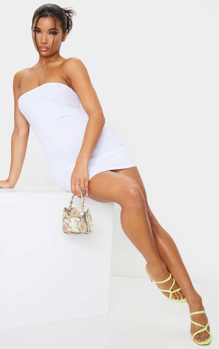 White Bandeau Pointy Hem Bodycon Dress 3