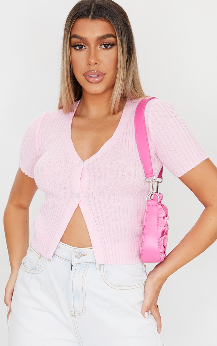 Pink Button Up Short Sleeve Knitted Cardigan 1