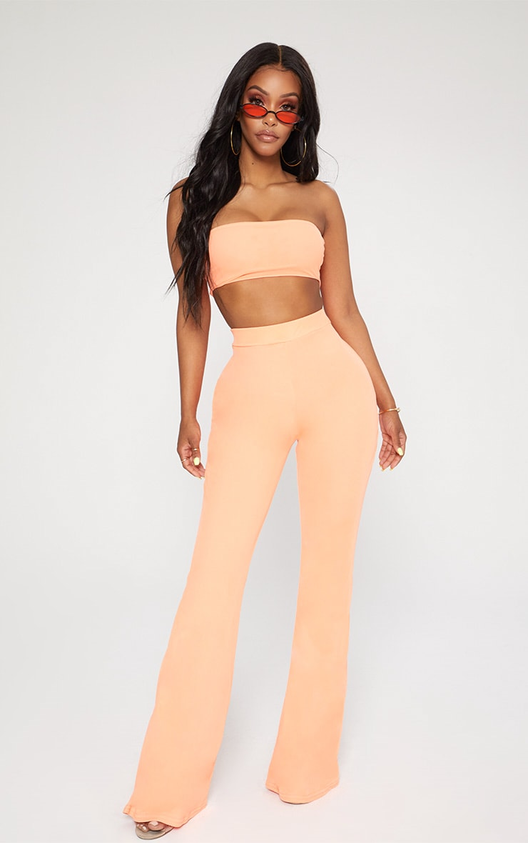 Shape Neon Coral Mesh Bandeau Crop Top 1