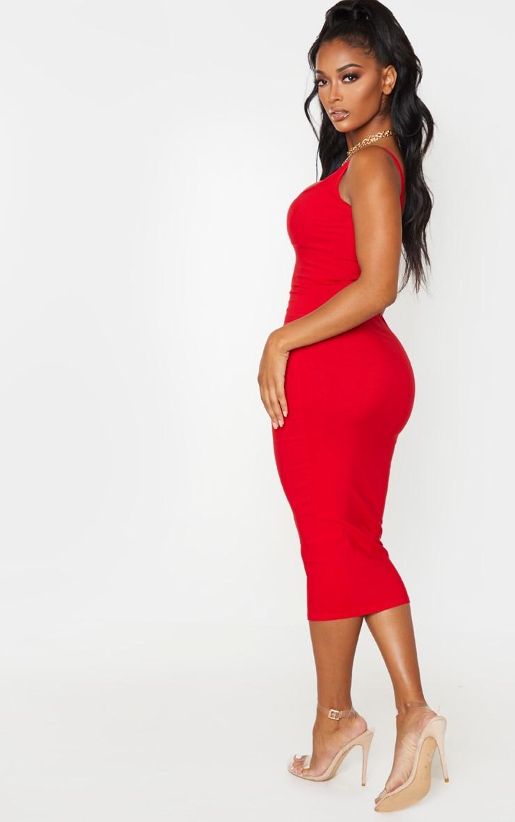 Shape - Robe mi-longue rouge à détail bonnets et fines bretelles 2