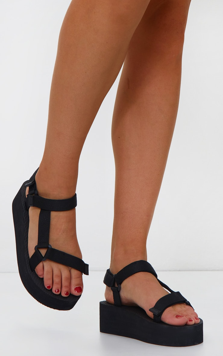 Black Wide Fit Flatform Sandals 1