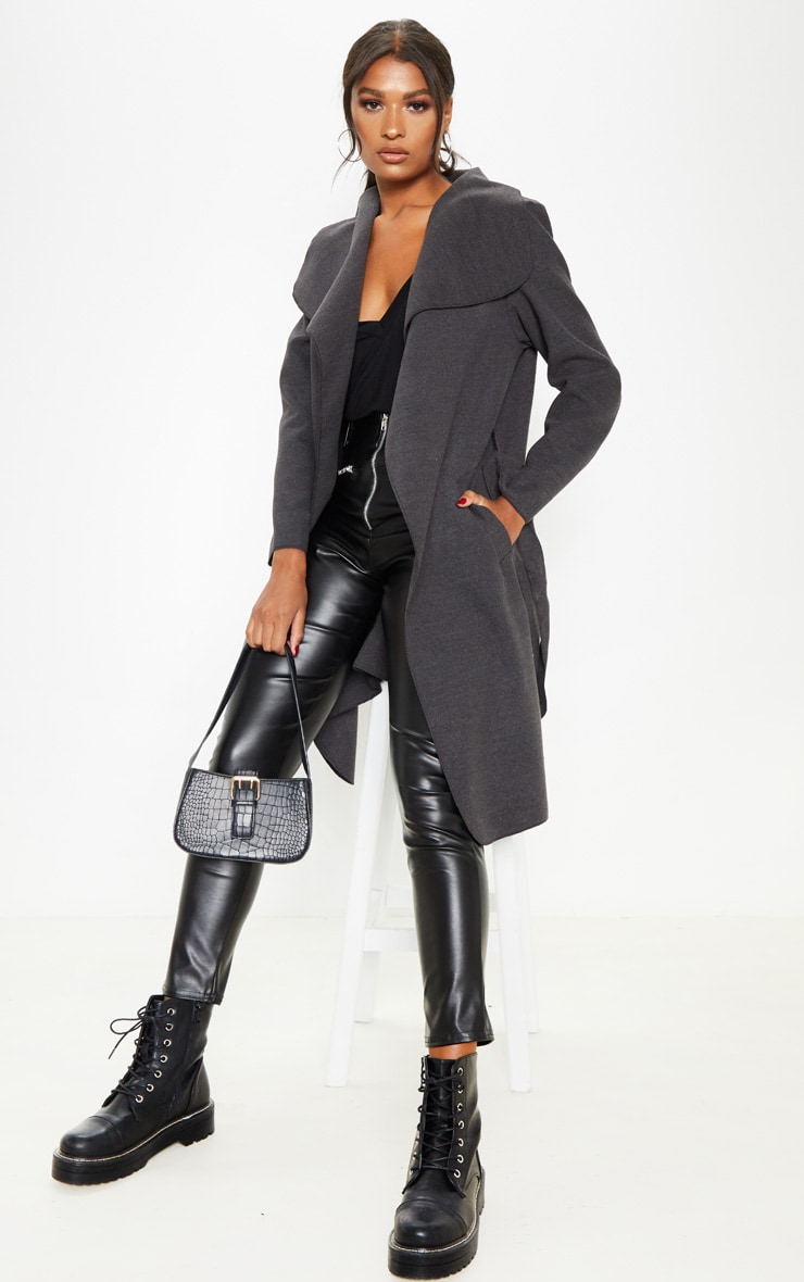 Veronica Charcoal Oversized Waterfall Belted Coat 1